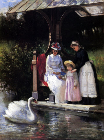 Percival DeLuce Feeding Swans, Central Park - Hand Painted Oil Painting