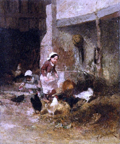 Alexandre Defaux Feeding the Chickens - Hand Painted Oil Painting