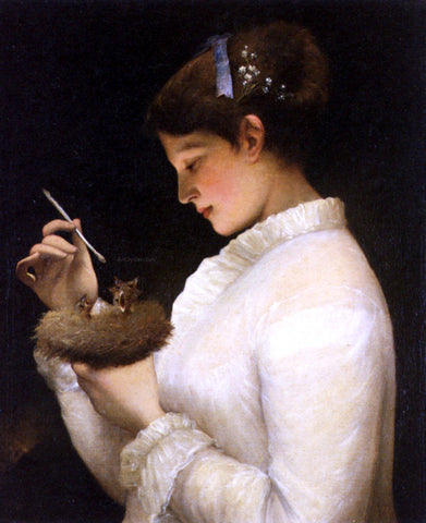 James Sant Feeding The Chicks - Hand Painted Oil Painting
