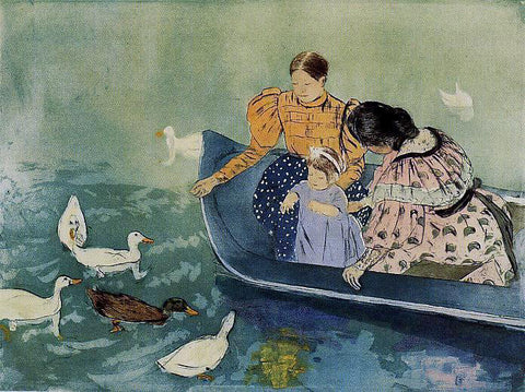 Mary Cassatt Feeding the Ducks - Hand Painted Oil Painting