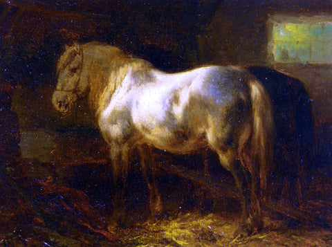 Wouter Verschuur Feeding the Horses in a Stable - Hand Painted Oil Painting