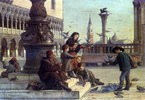 Antonio Paoletti Feeding The Pigeons - Hand Painted Oil Painting