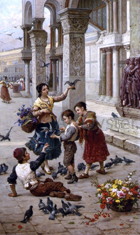 Antonio Paoletti Feeding the Pigeons at Piazza St. Marco, Venice - Hand Painted Oil Painting