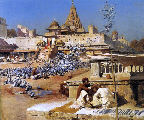 Edwin Lord Weeks Feeding the Sacred Pigeons, Jaipur - Hand Painted Oil Painting