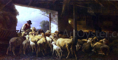 Christian Friedrich Mali Feeding The Sheep - Hand Painted Oil Painting