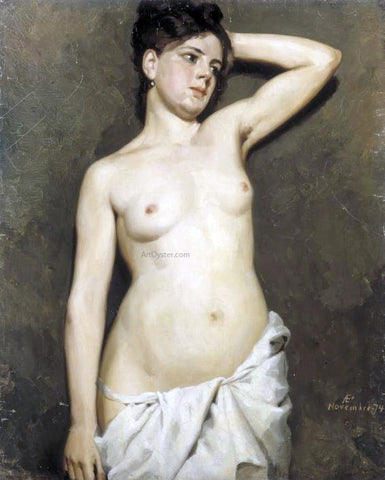 Albert Edelfelt A Female Model, Academic Study - Hand Painted Oil Painting
