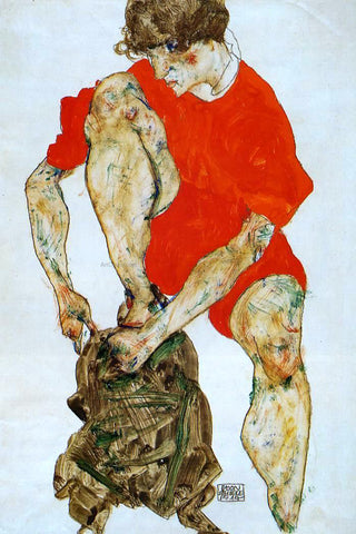 Egon Schiele Female Model in Bright Red Jacket and Pants - Hand Painted Oil Painting