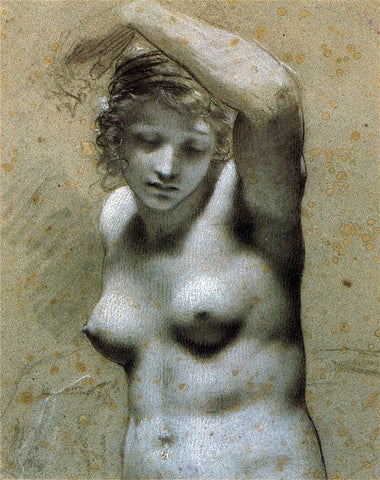 Pierre Paul Prudhon Femme nue, en buste - Hand Painted Oil Painting