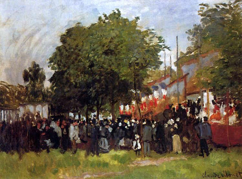 Claude Oscar Monet Fete at Argenteuil - Hand Painted Oil Painting