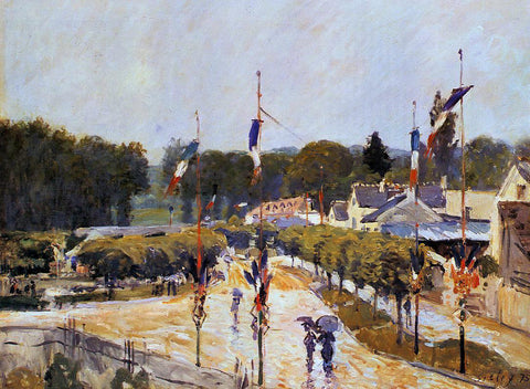 Alfred Sisley Fete Day at Marly-le-Roi (also known as The Fourteenth of July at Marly-le-Roi) - Hand Painted Oil Painting