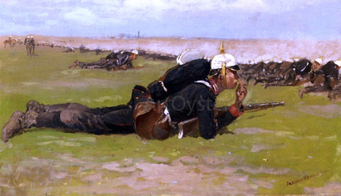 Frederic Remington Field Drill for the Prussian Infantry - Hand Painted Oil Painting