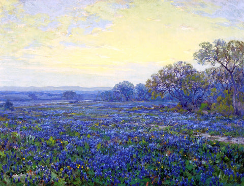 Julian Onderdonk Field of Bluebonnets under Cloudy Sky - Hand Painted Oil Painting