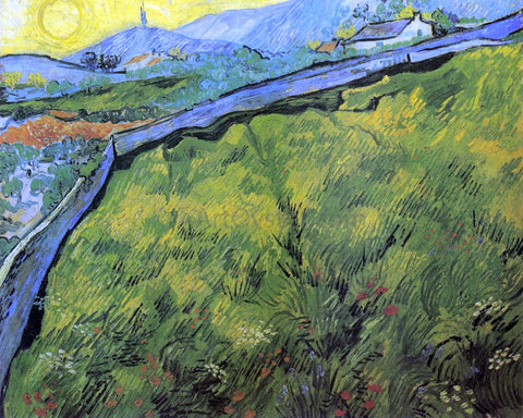 Vincent Van Gogh Field of Spring Wheat at Sunrise - Hand Painted Oil Painting