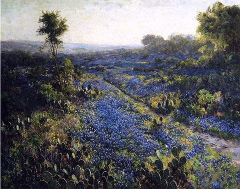 Julian Onderdonk Field of Texas Bluebonnets and Prickly Pear Cacti - Hand Painted Oil Painting