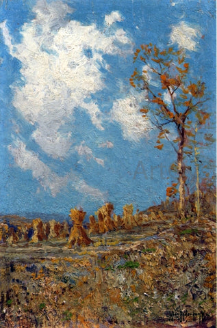 Julian Onderdonk Field with Corn Shocks - Hand Painted Oil Painting