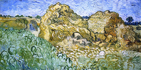 Vincent Van Gogh Field with Stacks of Wheat - Hand Painted Oil Painting