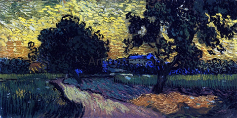 Vincent Van Gogh Field with Trees, the Chateau of Auvers - Hand Painted Oil Painting