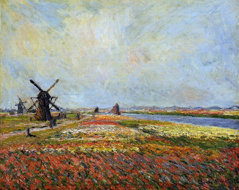 Claude Oscar Monet A Field of Flowers and Windmills near Leiden - Hand Painted Oil Painting