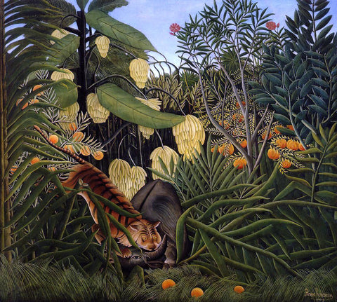 Henri Rousseau Fight between a Tiger and a Buffalo - Hand Painted Oil Painting