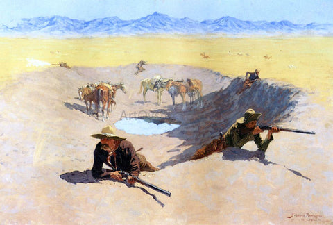 Frederic Remington Fight for the Water Hole - Hand Painted Oil Painting