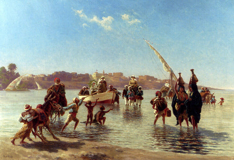 Paul Rudolf Linke Figures Coming Ashore Near Luxor, Upper Egypt - Hand Painted Oil Painting