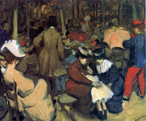 William James Glackens Figures in a Park, Paris - Hand Painted Oil Painting
