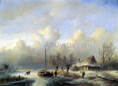 Andreas Schelfhout Figures in a Winter landscape - Hand Painted Oil Painting