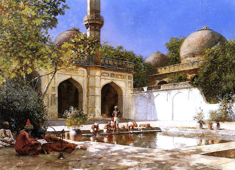 Edwin Lord Weeks Figures in the Courtyard of a Mosque - Hand Painted Oil Painting