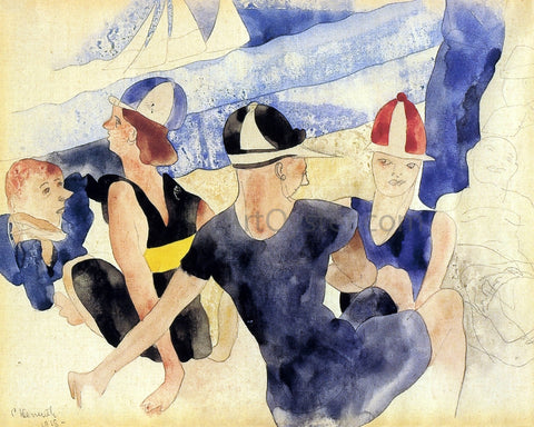 Charles Demuth Figures o Beach - Gloucester - Hand Painted Oil Painting