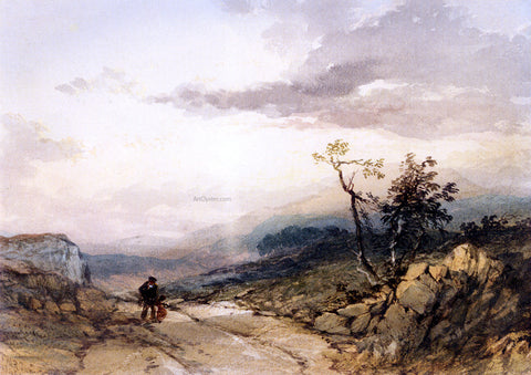 Junior Thomas Miles Richardson Figures On A Country Road Near Ambleside, Westmoreland - Hand Painted Oil Painting