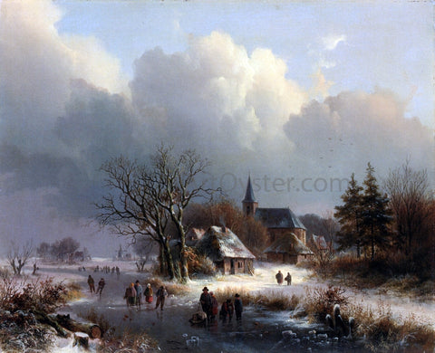 Johann Bernard Klombeck Figures on a Frozen River in Winter - Hand Painted Oil Painting