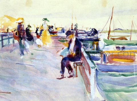 Charles Webster Hawthorne Figures on a Pier - Hand Painted Oil Painting
