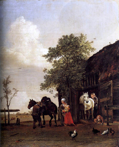 Paulus Potter Figures with Horses by a Stable - Hand Painted Oil Painting