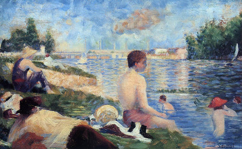 Georges Seurat Final Study for 'Bathing at Asnieres - Hand Painted Oil Painting