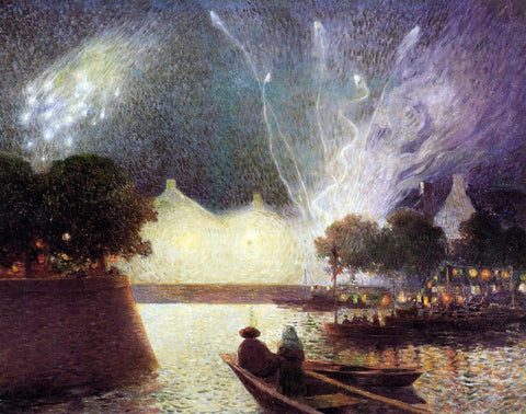 Ferdinand Du Puigaudeau Fireworks Over the Port - Hand Painted Oil Painting