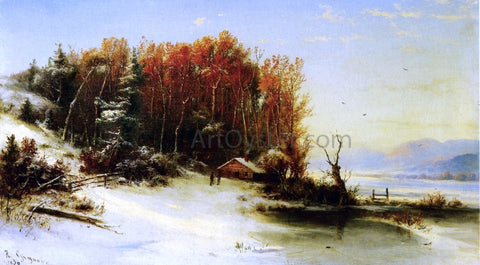 Marie-Francois-Regis Gignoux First Snow Along the Hudson - Hand Painted Oil Painting