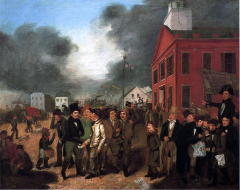 Thomas Mickell Burnham First State Election, Michigan, 1837 - Hand Painted Oil Painting