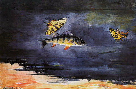 Winslow Homer Fish and Butterflies - Hand Painted Oil Painting