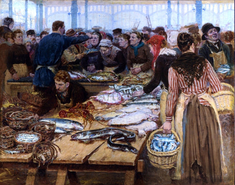 Edouard-Jean Dambourgez Fish Auction at Les Halles - Hand Painted Oil Painting