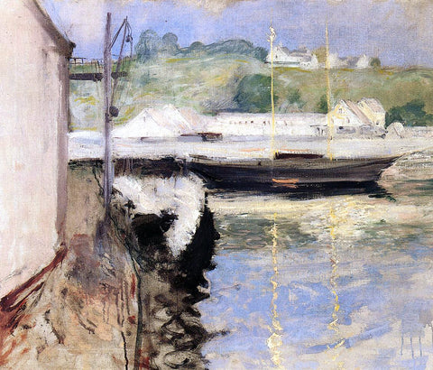 William Merritt Chase Fish Sheds and Schooner, Gloucester - Hand Painted Oil Painting
