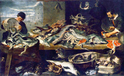 Frans Snyders Fish Shop - Hand Painted Oil Painting