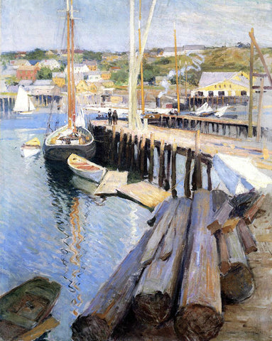 Willard Leroy Metcalf Fish Wharves - Gloucester - Hand Painted Oil Painting