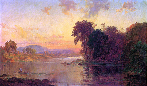 Jasper Francis Cropsey Fisherman in Autumn Landscape - Hand Painted Oil Painting