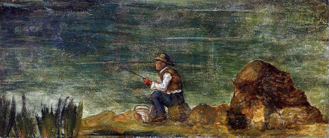 Paul Cezanne Fisherman on the Rocks - Hand Painted Oil Painting