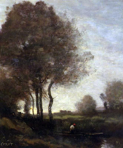 Jean-Baptiste-Camille Corot Fishermen in a Boat - Hand Painted Oil Painting