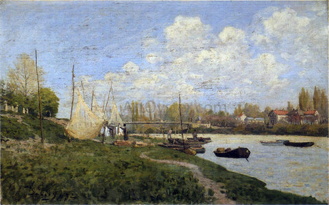 Alfred Sisley Fishermen Mending Nets - Hand Painted Oil Painting
