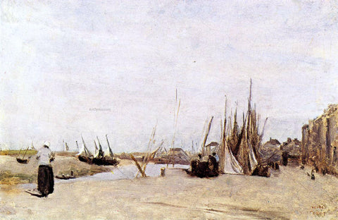 Jean-Baptiste-Camille Corot Fishermen's Quay, Trouville - Hand Painted Oil Painting