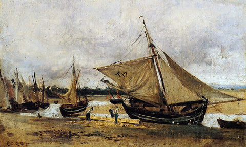 Jean-Baptiste-Camille Corot Fishing Boars Beached in the Chanel - Hand Painted Oil Painting