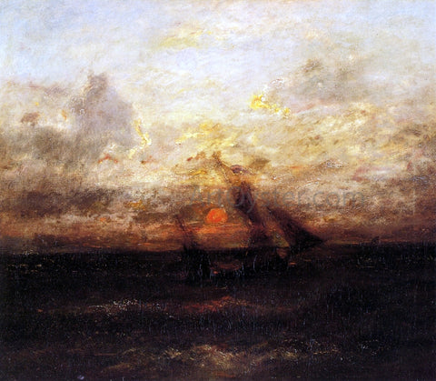 Jules Dupre Fishing Boat in Stormy Seas - Hand Painted Oil Painting