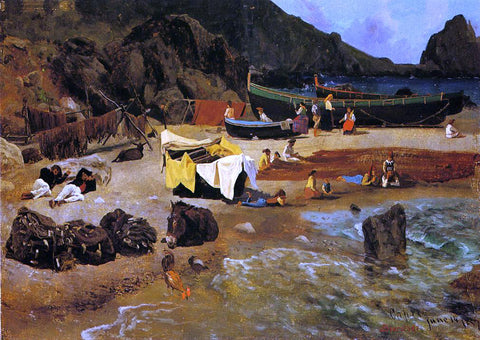 Albert Bierstadt Fishing Boats at Capri - Hand Painted Oil Painting